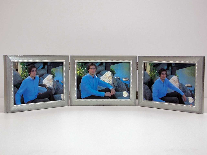 Triple Hinge Picture Frames Silver
