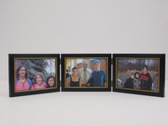 Triple Hinge Picture Frame Distressed Black Horizontal