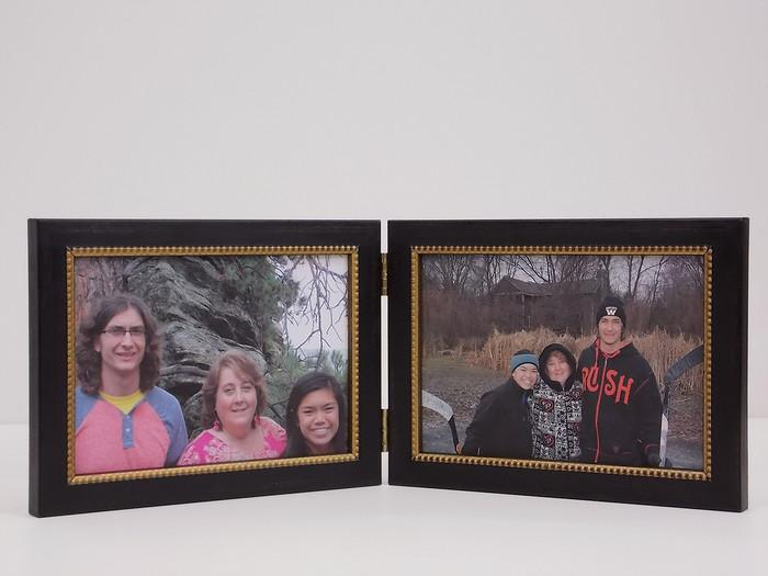 Antiqued  Black Double Hinge Picture Frame