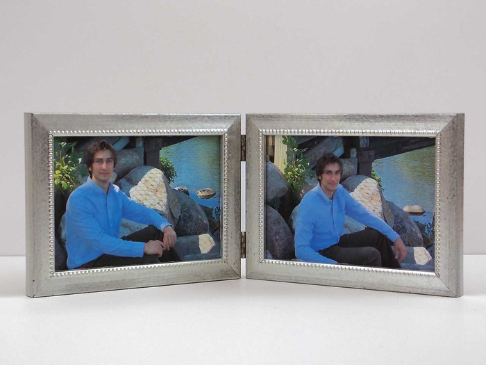 Double Hinge Silver Picture Frame