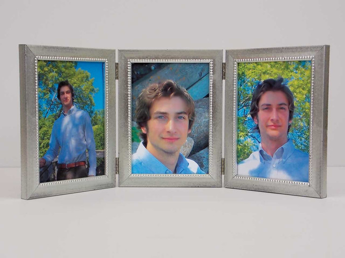 Distressed Silver Triple Hinge Picture Frame