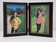 Antiqued  Black Double Hinge Picture Frame 5x7