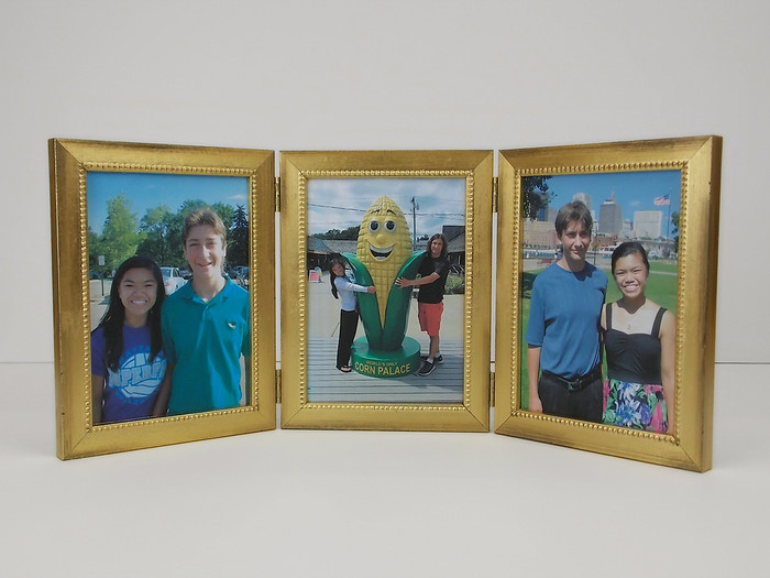 Antiqued  Gold Triple Hinge Picture Frame