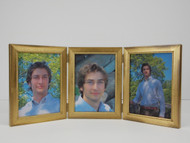 Distressed Cool Gold Leaf  with Beaded Lip Triple Hinge Picture Frame (Vertical)
