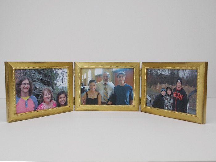 Triple Hinge Picture Frame Distressed Gold Horizontal