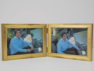 Antiqued  Gold Double Hinge Picture Frame