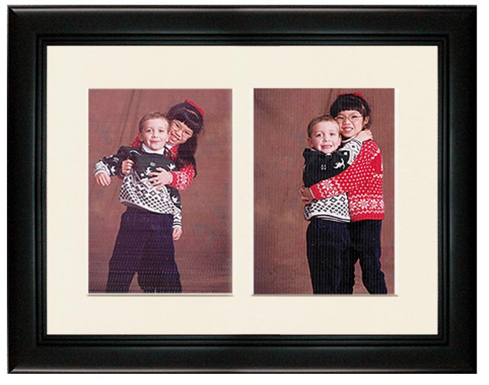 Deluxe Black collage frame with 2-openings and off white mat