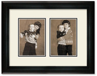 Deluxe Black 2-opening collage frame with off white double mat