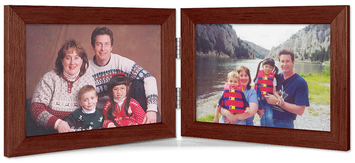 Double Hinge Horizontal (Landscape) Picture Frame - Walnut Finish