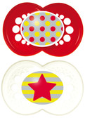 MAM Trends Orthodontic Silicone Pacifiers 6+ m, 2 pk, Red/White
