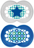 MAM Trends Orthodontic Silicone Pacifiers 6+ m, 2 pk, Blue/White