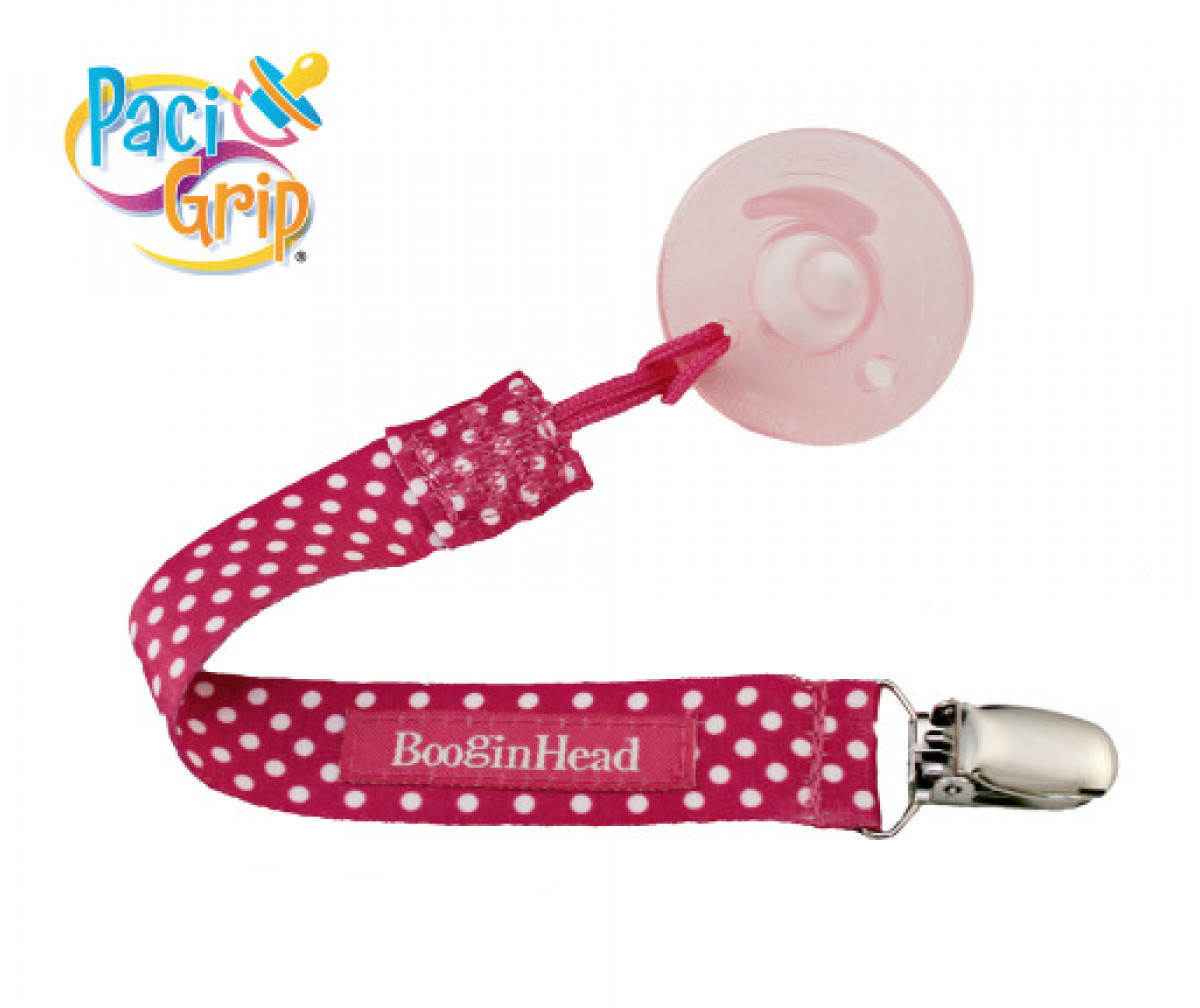 Pink Polka Dot BooginHead PaciGrip Pacifier Holder