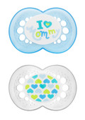 MAM Love & Affection I Love Mommy Orthodontic Silicone Pacifiers 6+ m, 2 pk, Boy