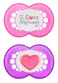 MAM Love & Affection I Love Mommy Orthodontic Silicone Pacifiers 6+ m, 2 pk, Girl