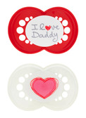 MAM Love & Affection I Love Daddy Orthodontic Silicone Pacifiers 6+ m, 2 pk, Girl