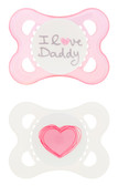 MAM Love & Affection I Love Daddy Orthodontic Silicone Pacifiers 0-6 m, 2 pk, Girl