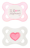 MAM Love & Affection I Love Mommy Orthodontic Silicone Pacifiers 0-6 m, 2 pk, Girl