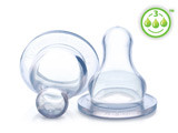 Nuby Clear Silicone Nipples, Fast Flow, 3 pk