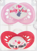 MAM Rock and Roll Orthodontic Silicone Pacifiers 6+ m, 2 pk, Red/Pink