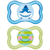 MAM Air Silicone Pacifiers 6+ m, 2 pk, Blue/Green