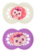 MAM Cartoon Orthodontic Silicone Pacifiers 6+ m, 2 pk Girl