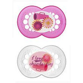 MAM Sports Orthodontic Silicone Pacifiers 6+ m, 2 pk I Love Cheerleading