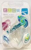 MAM Stripes Orthodontic Silicone Pacifiers, 2+ m Value Pack Blue