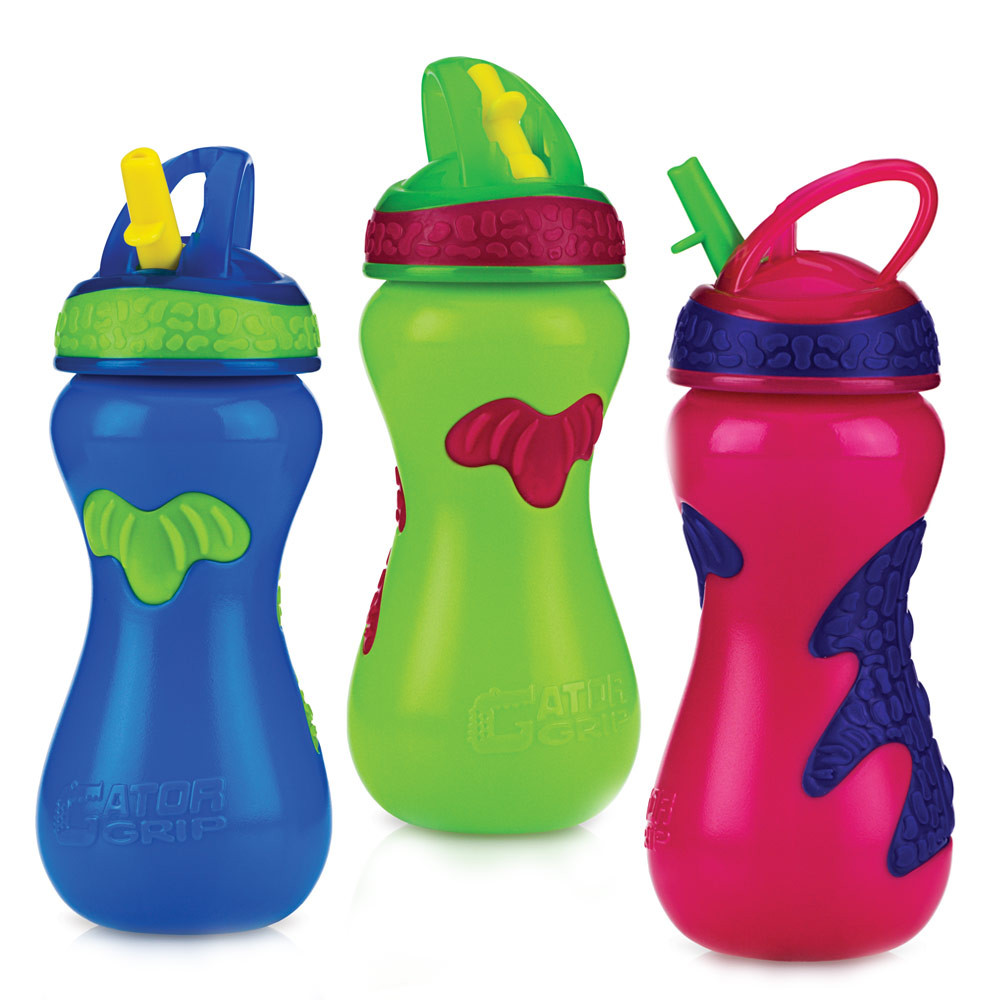 Nuby Gator Grip Sports Bottle With Flip It Straw 15 Oz 1 Pk Parents Favorite