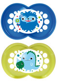 MAM Monster Orthodontic Silicone Pacifiers 6+ m, 2 pk, Blue/Green