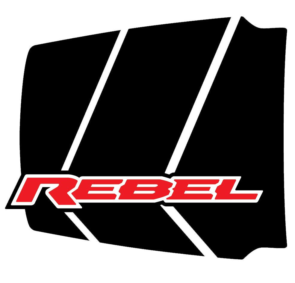 REVOLUTION HOOD Dodge Ram Rebel Hood Decals, 2019 2020 Dodge Ram Hood Stripes Vinyl Graphics Kit