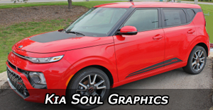 Kia Soul Vinyl Graphics, Kia Soul Hood Decals, and Kia Soul Body Stripe Kits