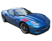 VETTE DOUBLE BAR : 2005-2013 Chevy Corvette Hash Hood Stripes - Chevy Corvette Hash Style Hood and Fender Vinyl Graphics! A factory OEM upgrade look at a discount price! Pre-Cut Pieces Ready to Install!