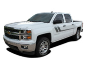 TRACK XL : 2000-2019 Chevy Silverado GMC Sierra Side Door Hockey Decal Vinyl Graphic Stripe Kit (M-PDS-2365)