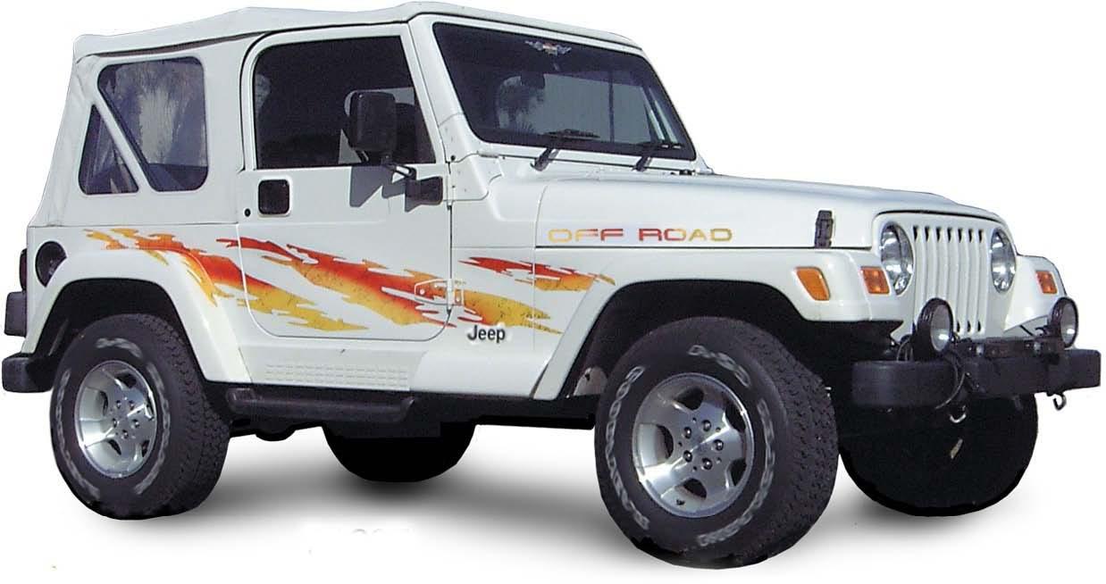 Shredder vinyl graphics decals stripes kit universal fit shown on jeep wrangler 4x4