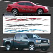 SHATTERED : Automotive Vinyl Graphics Shown on GMC Sierra and Dodge Avenger (M-08493)