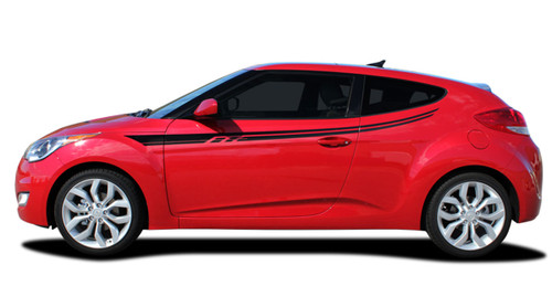 RUSH : Vinyl Graphics Kit Engineered to fit the 2011 2012 2013 2014 2015 2016 2017 2018 Hyundai Veloster / Vinyl Graphics Kit, specially engineered to fit the Hyundai Veloster! Fantastic body line application that will set your Hyundai Veloster apart from the rest!