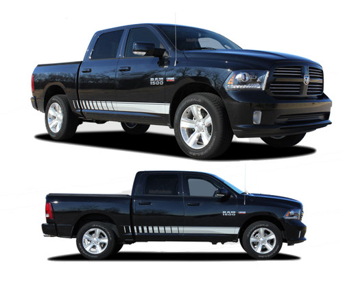 "RAM ROCKER STROBES : 2009 2010 2011 2012 2013 2014 2015 2016 2017 2018 Dodge Ram Lower Rocker Panel Stripes Vinyl Graphics Kit!  NEW! 2009-2016 2017 2018 Dodge Ram Rockers : Lower Rocker Panel Stripes Vinyl Graphics Kit! Engineered specifically for the new Dodge Ram body styles, this kit will give you a factory ""MoPar OEM Style"" upgrade look at a discount price! Ready to install!"
