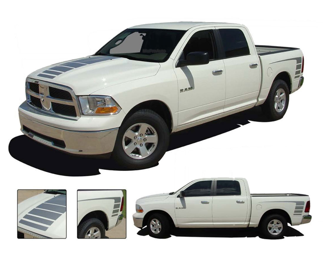 Power Ram 2009 2016 2017 2018 Dodge Ram Decals Strobe Hood Bed Stripes Vinyl Graphics Kit Moproauto Professional Vinyl Graphics And Striping