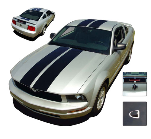 Mustang WILDSTANG : 2005-2009 Ford Mustang Lemans Style Vinyl Racing Stripes Kit - Factory OEM Style Vinyl Racing and Rally Stripes Kit with Dome Emblems for the 2005-2009 Ford Mustang! Pre-cut pieces ready to install. A fantastic addition to your vehicle, using only Premium Cast 3M, Avery, or Ritrama Vinyl!