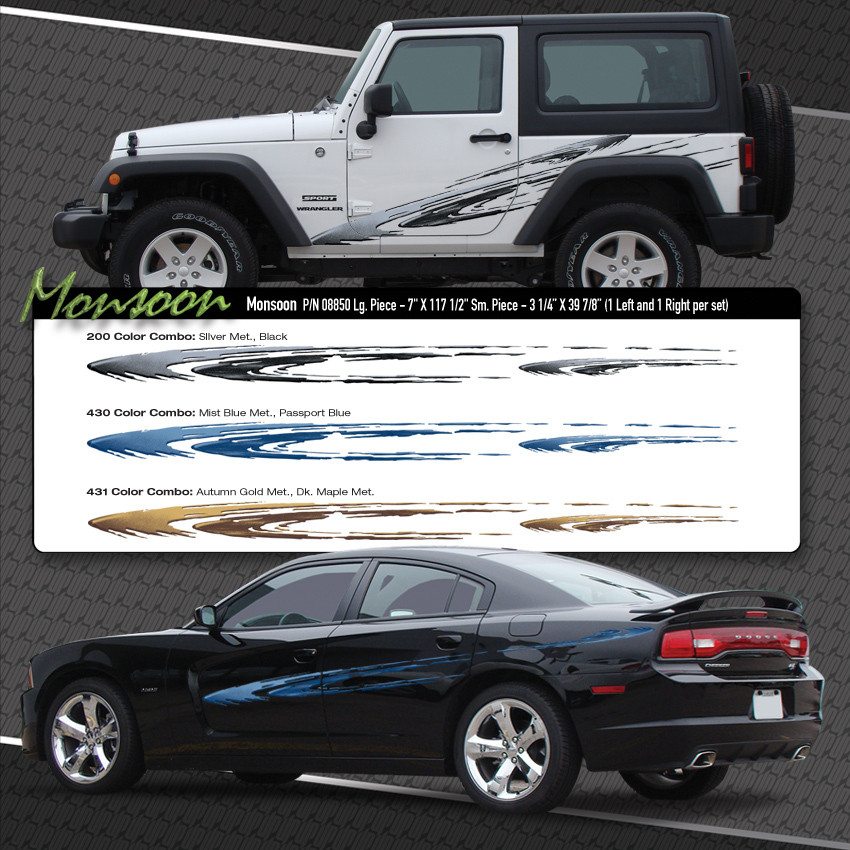 Monsoon Automotive Vinyl Graphics Shown On Dodge Charger
