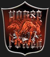 HORSEPOWER SHIELD: High Definition Automotive Vinyl Graphics Horse Trailer Decals (M-HOP-10S)