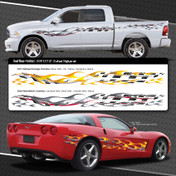 HEAT WAVE : Automotive Vinyl Graphics Shown on Dodge Ram and Chevy Corvette (M-09243)