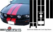 Ford Mustang : Dual Rally Vinyl Decal Stripes fits 2005-2009