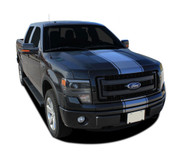 "F-150 CENTER STRIPE : Ford F-150 Racing Stripes Vinyl Graphics and Decals Kit for 2009 2010 2011 2012 2013 2014 Models - Ford F-150 Center Racing Stripe Vinyl Graphics and Decals Kit! Ready to install for your F-150 Ford Truck for 2009 2010 2011 2012 2013 2014 Models. Professional ""OEM Style"" and Design! For Automotive Restylers and Dealers!"
