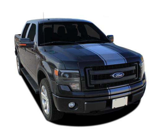 """F-150 CENTER STRIPE : Ford F-150 Racing Stripes Vinyl Graphics and Decals Kit for 2009 2010 2011 2012 2013 2014 Models - Ford F-150 Center Racing Stripe Vinyl Graphics and Decals Kit! Ready to install for your F-150 Ford Truck for 2009 2010 2011 2012 2013 2014 Models. Professional """"OEM Style"""" and Design! For Automotive Restylers and Dealers!"""