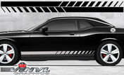 Dodge Challenger : Strobe Fader Rocker Panel Stripes fits 2008-2013 Models (SVS310D)