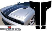 Dodge Challenger : Black Carbon Fiber Split T Hood Graphic fits 2008-2013 Models