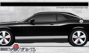 Dodge Challenger : Solid Rocker Panel Stripes with Pinstripes fits 2008-2013 Models (SVS307D)