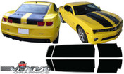 Chevy Camaro : Extended Length Bumblebee Style Rally Stripes without Spoiler fits 2010-2013 (SVS302C)
