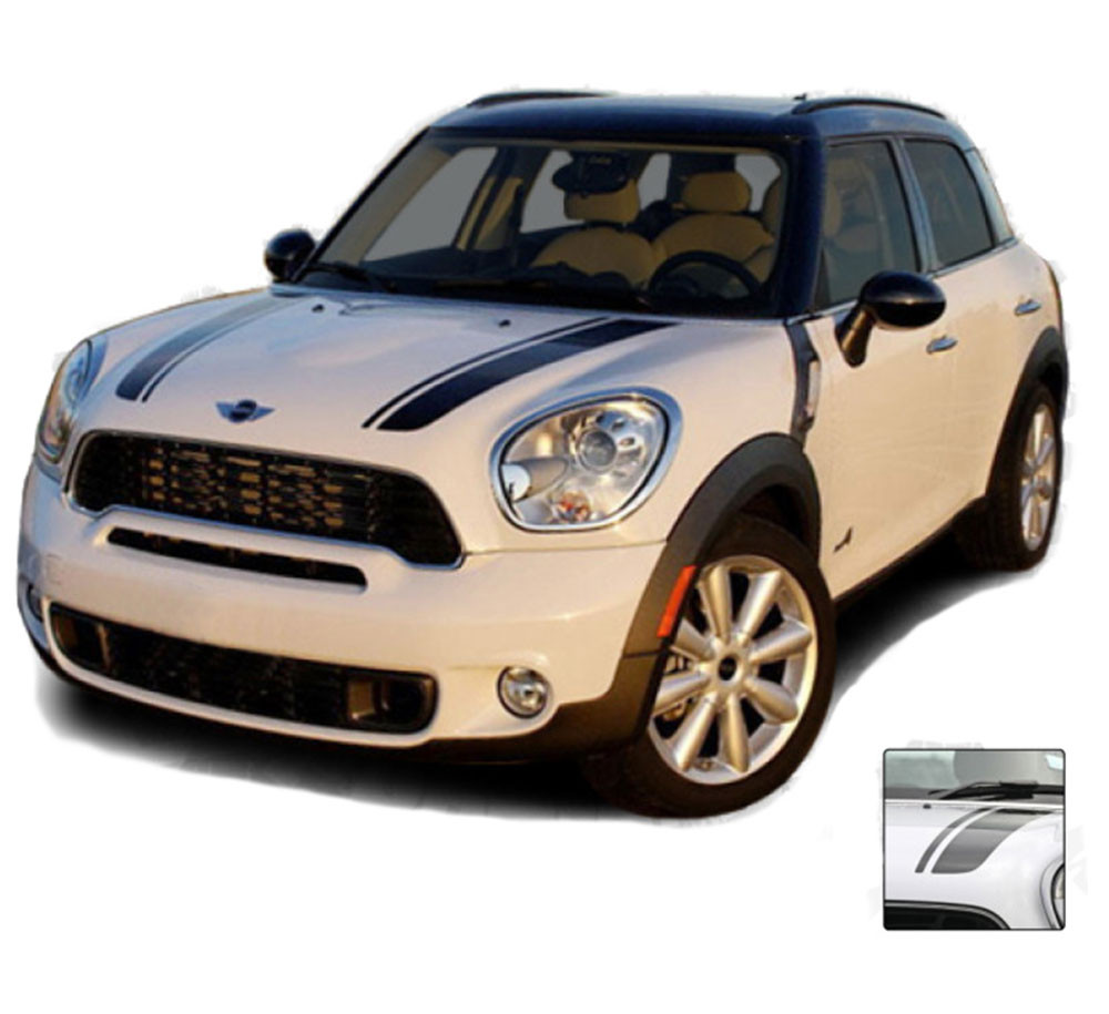 3 Color Rally Stripe Stripes Graphics Decals fit any model Mini Cooper Paceman